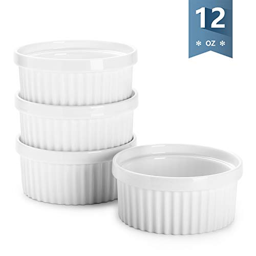 Sweese 503.101 Porcelain Ramekins for Baking - 12 Ounce Souffle Dish - Set of 4, White