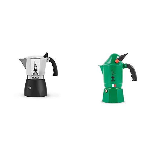 Bialetti New Brikka Caffettiettiera in Alluminio per caffe con Doppia Crema, Argento, 4 Tazze & Moka Express Alpina Caffettiera in Alluminio, Verde, 3 Tazze