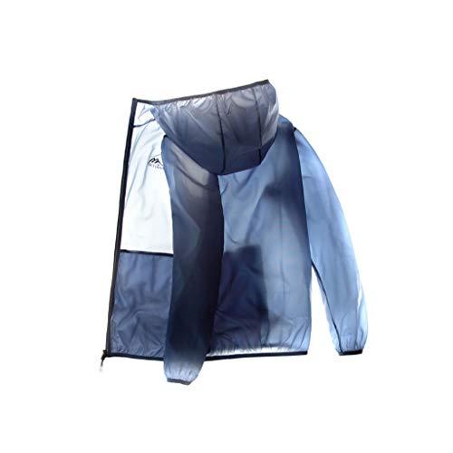 Sudor Ropa de protección Solar Verano de los Hombres de Piel Running Senderismo Deportes al Aire Libre Rompevientos Sol Ropa Protección Chaqueta Secado rápido (Color : Blue, Size : 2XL)