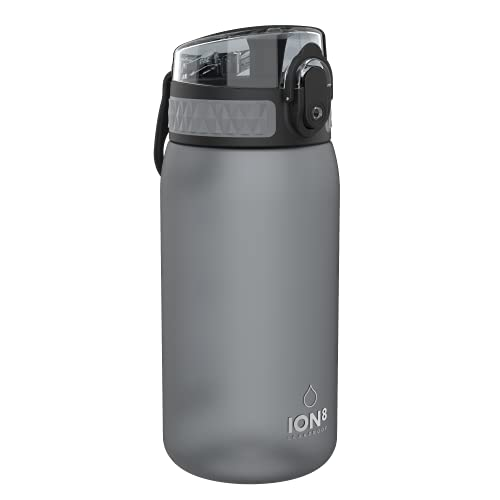 Ion8 Botella Agua Niños Sin Fugas, Sin BPA, Monos, Gris