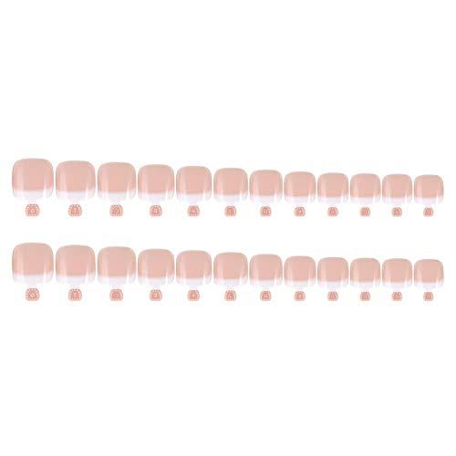 Yorten 24pcs Faux Ongle Conseils Set Français Couverture complète Conseils Ongles Faux Toe for Manucure Manucure Décoration d'Ongles