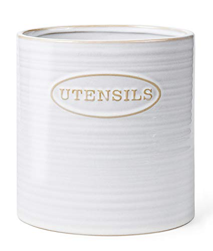 Porcelain Utensil Holder Basic Ceramic Kitchen Utensil Crock, Vintage Style, Oval