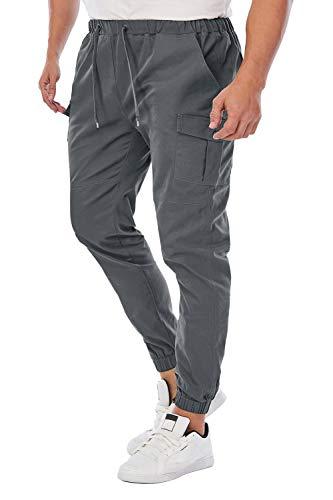 Cindeyar Herren Hosen Slim Fit Casual Jogger Sporthose Freizeithose Cargo Chino Jeans Hose (Z_Grau 02,M)
