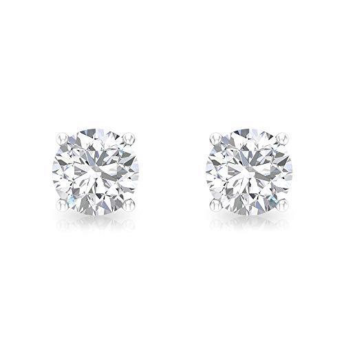 Aretes de 1 ct Solitario de diamante certificado IGI, pendientes de boda nupcial, IJ-SI claridad de color, pendientes de declaración de diamante, apilables madres, tornillo hacia atrás