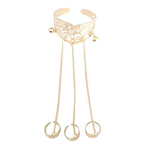 Armbänder mit Ring Damen Fingerring Armband Ringkette Kunsthandwerk Schmuck (Gold)