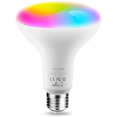 Lampadina Alexa LED E27 13W RGB Multicolor Dimmerabile Equivalente 100W,Compatibile con Alexa,Google Assistant,Smart Life,TECKIN BR30 Domotica con timing(Non supporta 5G WiFi)