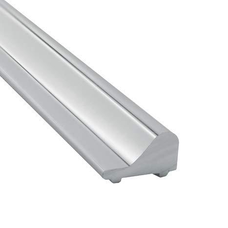 Schwallschutzleiste Dusche SP1100GC - Material: Aluminium | Oberfläche: Glanzverchromt | Form: Rund - wasserabweisendes Spritzschutzprofil + Duschtür-Bodendichtung für einen trockenen Boden