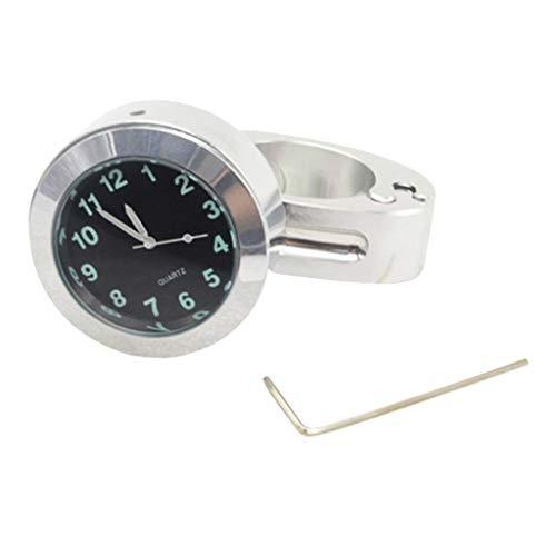 Almencla Universal 22/ 25mm Lenkeruhr Zifferblatt Uhr für ATV Quad Roller Dirt Bike usw, Wasserdicht - Silber