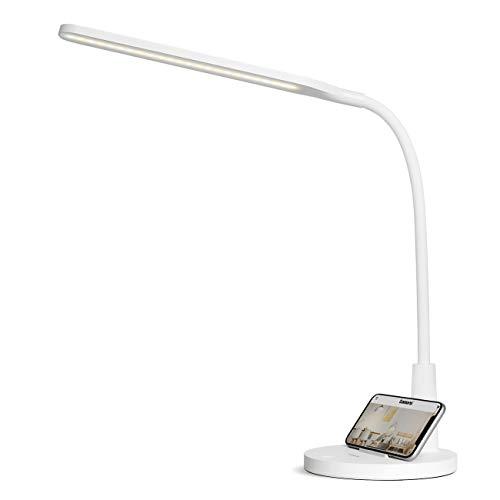 Tomons Schreibtischlampe LED Dimmbar Stufenlos, Tischleuchte 3 Farb, Touch Control, Helligkeit Memory-Funktion, USB-Anschluss, Handyhalter, Augenschutz, Flexibler Büro Tischleuchte, Nachttischlampe