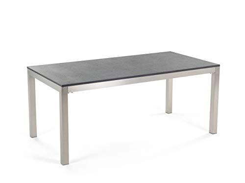 Beliani tuintafel roestvrij staal/natuursteen zwart gevlamd 180 x 90 cm eendelig tafelblad GROSSETO