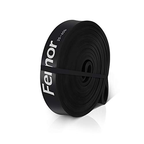 FEMOR Elastici Fitness 2080mm, Elastici Fitness Resistenza 25-65Lb, Elastici Fitness Lattice Naturale, Loop Bands Set per Stretching, Nero