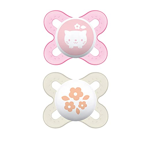 MAM Start Tender Pacifiers (2 pack, 1 Sterilizing Pacifier Case), Newborn Baby Girl Pacifiers, Best Pacifier for Breastfed Babies, Self Sterilizing Baby Pacifier Case, Baby Pacifiers