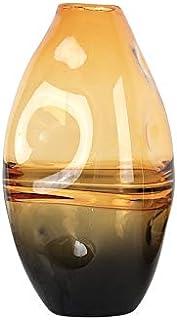 Large Vases for The Floor, 33cm Irregular Rounded Glass Vase Decorative Glittery Flower Vase Gift Present (Color : Yellow)