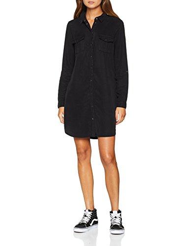VERO MODA Damen VMSILLA LS Short Dress Blck NOOS GA Kleid, Schwarz (Black Black), 34 (Herstellergröße: XS)