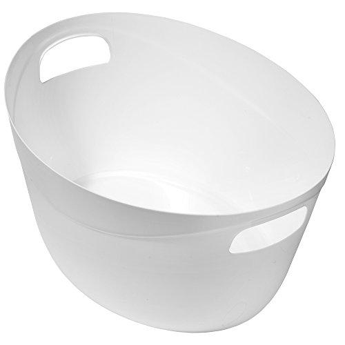 Great Plastic Multiuso Cestino Ovale, Bianco, Confezione da 12