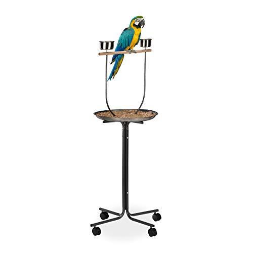 Relaxdays XL Freisitz für Papageien, Anflugstange, 2 Futternäpfe, rollbar, Nymphensittich, HBT: 130 x 60 x 60 cm, silber
