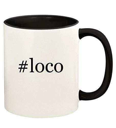 #loco - 11oz Hashtag Ceramic Colored Handle and Inside Coffee Mug Cup, Black