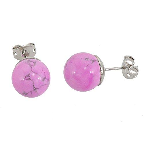 lassiere–Pendientes Howlita bola rosa