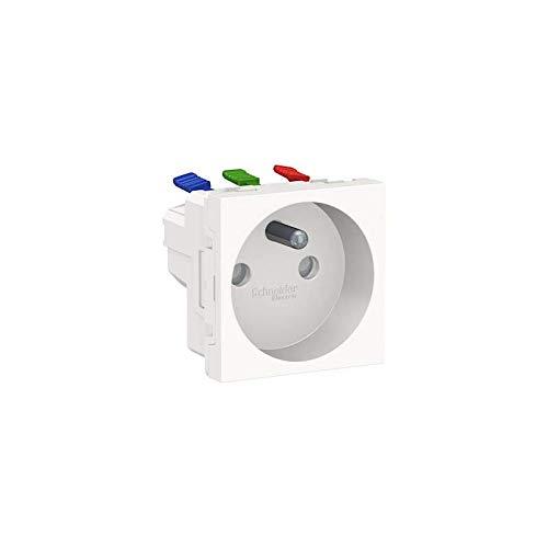 Unica – Toma 2P + T – FR – 90° – Conex rapid – Blanco anti – Meca solo