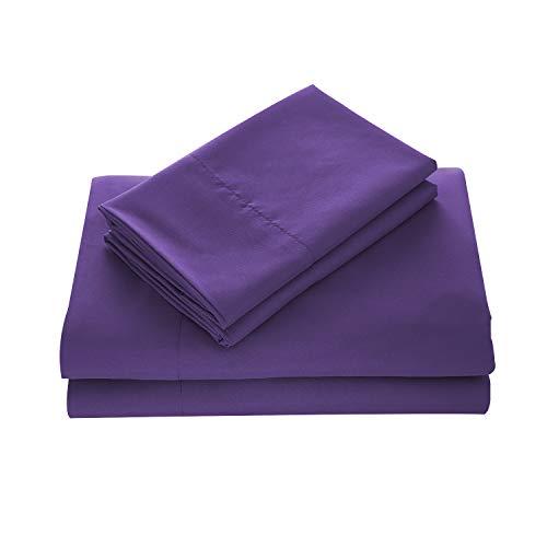 Wavva Bedding Luxury 4-Pcs Bed Sheets Set- 1800 Deep Pocket, Wrinkle & Fade Resistant Queen Size, Purple, Prism Violet