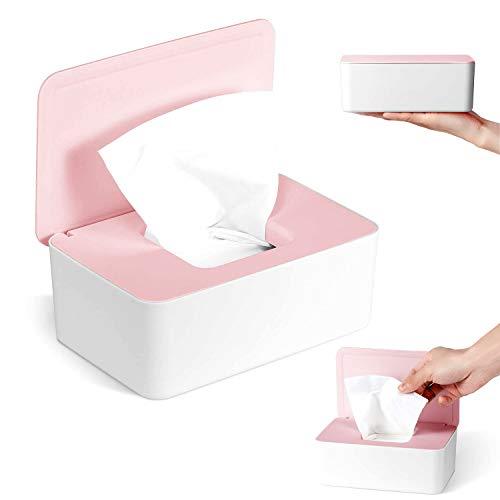 Dispensador de Toallitas Húmedas, 18,5 x 12,2 x 7 cm Caja para Toallitas Húmedas, Caja de Almacenamiento de Pañuelos a Prueba de Polvo para Oficina en Casa (Cubierta de polvo caja blanca)