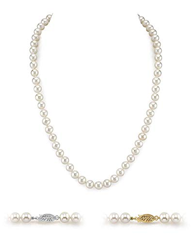 """The Pearl Source Freshwater Cultured White Pearl Necklace in AAAA Quality with 14K Gold Clasp 