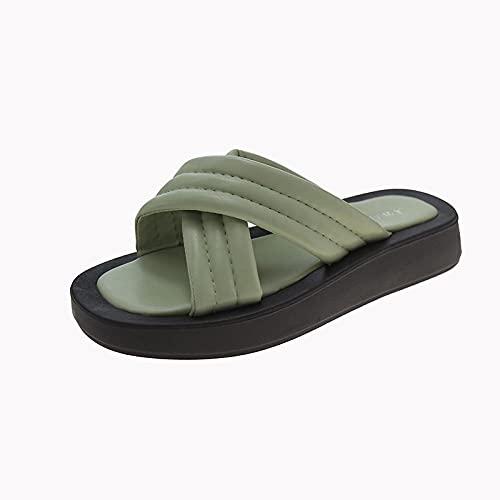 ypyrhh Palabra de Mujer con Sandalias,Zapatillas de Fondo de Pino de pneumon Tarta de Pino, vistiendo chapas de Moda-Verde_39,Tira Ancha Suela con Agujero