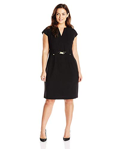 Calvin Klein Women's Size Shift Dress W/Gold Hardware, Black, 18 Plus