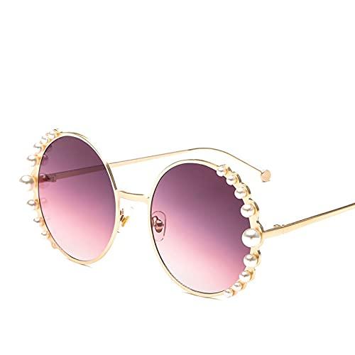 Heigmznvtyj Gafas de Sol Mujer Polarizadas, Gafas de Sol Pearl Señoras Moda Material Marco Redondo Gafas de Sol Espejo Gafas de Sol Pearl (Lenses Color : Gold-Purple)