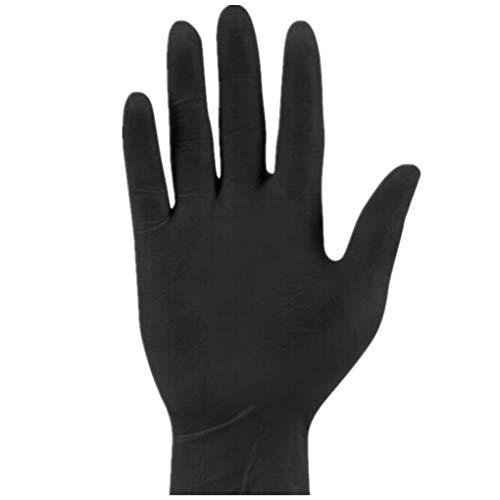 Skxinn 100 Stück Handschuh,Naturlatex, puderfrei Multifunktionale Hause Silikon Handschuhe Einweg Latex Universal Reinigung Lebensmittel Kosmetik Einweg Handschuhe (S M L)(Schwarz,S)