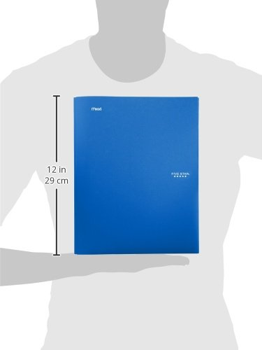 """Five Star 2-Pocket Folder, Stay-Put Folder, Plastic Colored Folders with Pockets & Prong Fasteners for 3-Ring Binders, For Home School Supplies & Home Office, 11"""" x 8-1/2"""", Blue (72115) Photo #3"""