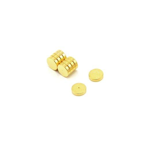 First4magnets F615G-10 6mm Durchmesser x 1,5mm dicker Gold-beschichteter Therapie-Magnet-Vertiefung auf der Nord-Fläche-0,44kg Anziehungskraft (1 St-Packung)