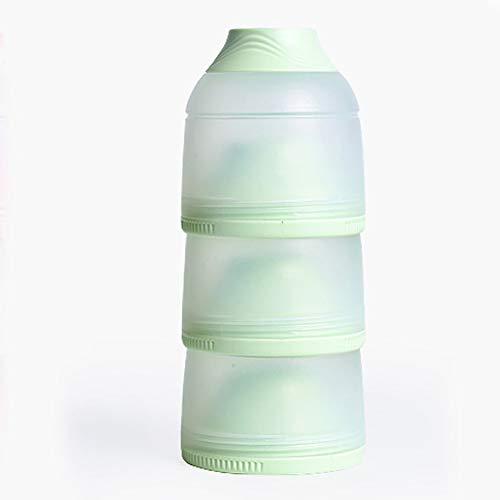 Queta Dispensador de leche en polvo para bebés 3 compartimientos portátil de gran capacidad Dosificador de Leche en Polvo Recipiente para leche en polvo granos alimentos frutas (verde)