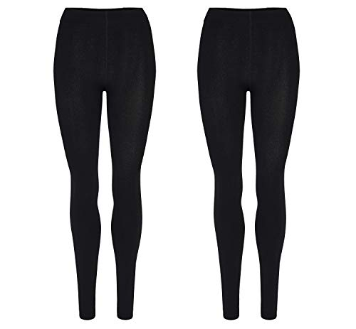 Palleon 2er Pack Damen Thermo Leggings mit Innenfleece 44-46 / schwarz