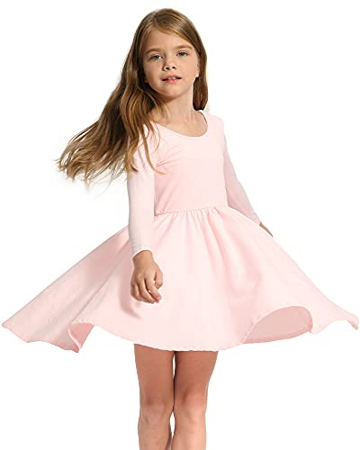 Stelle Toddler/Girls Long Sleeve Casual A-Line Twirly Skater Dress for School Party (Pink, 5T)
