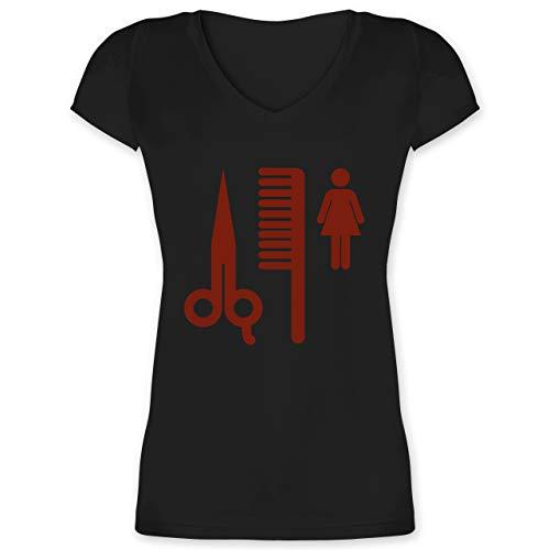 Handwerk - Friseurin Piktogramm rot - 3XL - Schwarz - Schere - XO1525 - Damen T-Shirt mit V-Ausschnitt