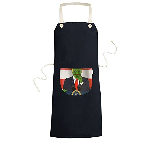 America American President Sad Frog Trump Doing Speech Funny Ridiculous Spoof Meme Image Cooking Kitchen Black Bib Aprons with Pocket for Women Men Chef Gifts