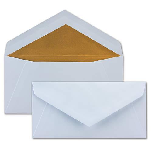 150 Brief-Umschläge in weiß mit goldenem Innenfutter - DIN Lang Format 22 x 11 cm - mit Matter Oberfläche & hochwertiger Fütterung - 90g/m² - Nassklebung