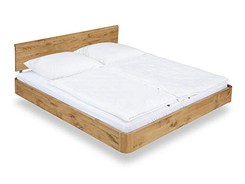 SHERY Doppelbett/Schwebebett, Material Massivholz, 180x200 cm Wildeiche geölt