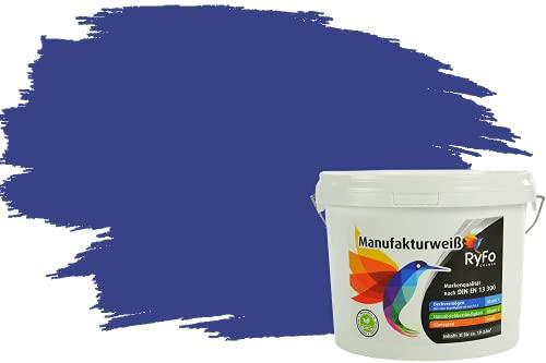 RyFo Colors Bunte Wandfarbe Manufakturweiß Royalblau 3l - weitere Blau Farbtöne und Größen erhältlich, Deckkraft Klasse 1, Nassabrieb Klasse 1