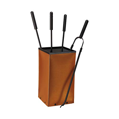 Schössmetall Kamingarnitur 4-TLG. Leder Cognac/Eisen beschichtet, Fox 04220060