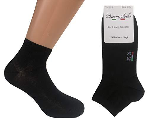 DREAM SOCKS 6 paia calzini corti alla caviglia in cotone filo di scozia elasticizzato,ultra leggero,prodotto MADE IN ITALY,modello unisex, vari assortimenti. (43/46, nero)
