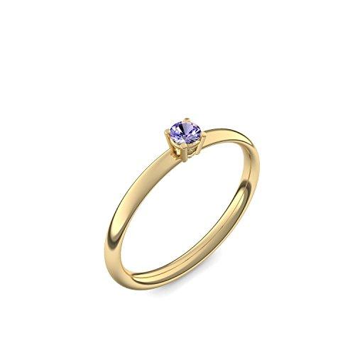 750 Goldring Tansanit (sehr hochwertig!) + inkl. Luxusetui + - Goldringe Tansanit Ringe (Gelbgold 750) - Concinnity Amoonic Größe 48 (15.3) AM161 GG750TAFA48