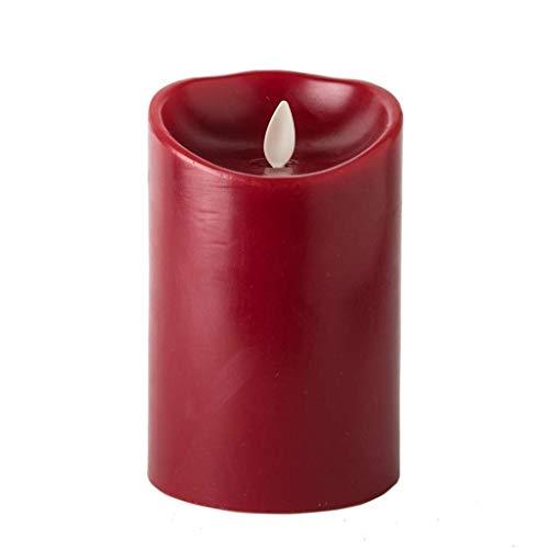 LUMINARA Flameless Candle - Cinnamon Scented Burgundy Wax Classic Pillar - 7 in