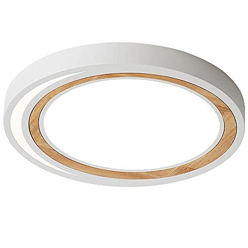 CHENKUI Lámpara De Techo LED Regulable De Tres Colores Moderna Luz De Techo Simple De Instalación Empotrada Macaron Iluminación De Techo Circular De Arte Creativo En Madera Utilizado En Dormitorio