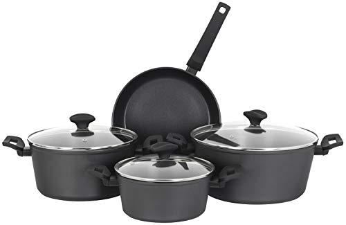 Zilan Kochtopf Set 7-Teilig | Für alle Herdarten geeignet, auch Induktion | Topfset | Kasserolle | Kochtopf mit Deckel | Kochgeschirr | Töpfe mit Glasdeckel | Kochtopfset |