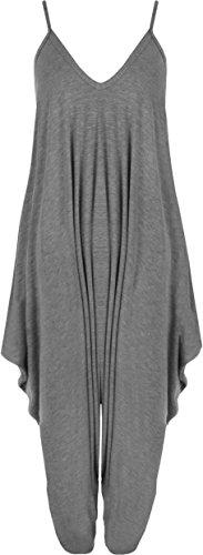 WearAll - Damen Lagenlook Strappy Harem Jumpsuit Kleid Cami Playsuit Weste Top - Dunkelgrau - 42-44