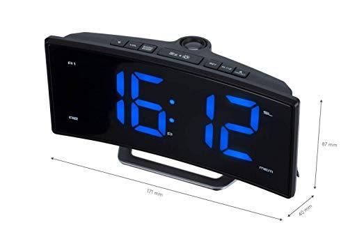 ROXX Radiowecker UKW Radio mit Projektion Jumbo Display 2 Weckzeiten Uhrenradio CR302P