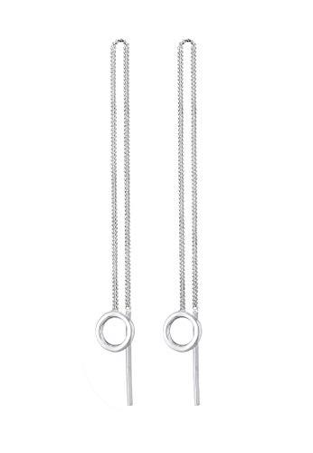 Elli Ohrringe Damen Durchzieher Kreis Minimal Basic aus 925 Sterling Silber Vergoldet