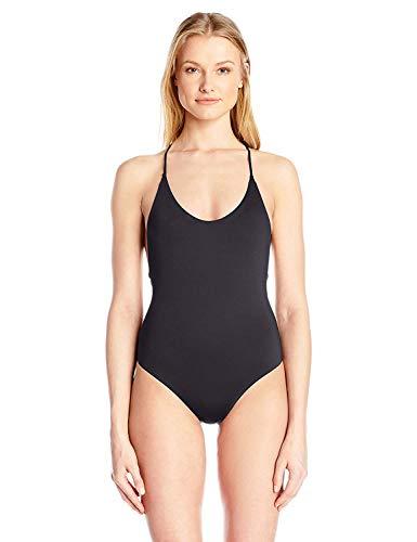 Dolce Vita Women's Solid One Piece Cross Back Swimsuit, Black, L